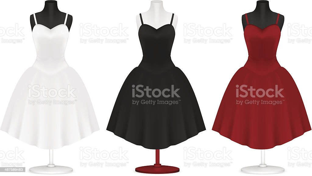 Classic women's plain dress template vector art illustration