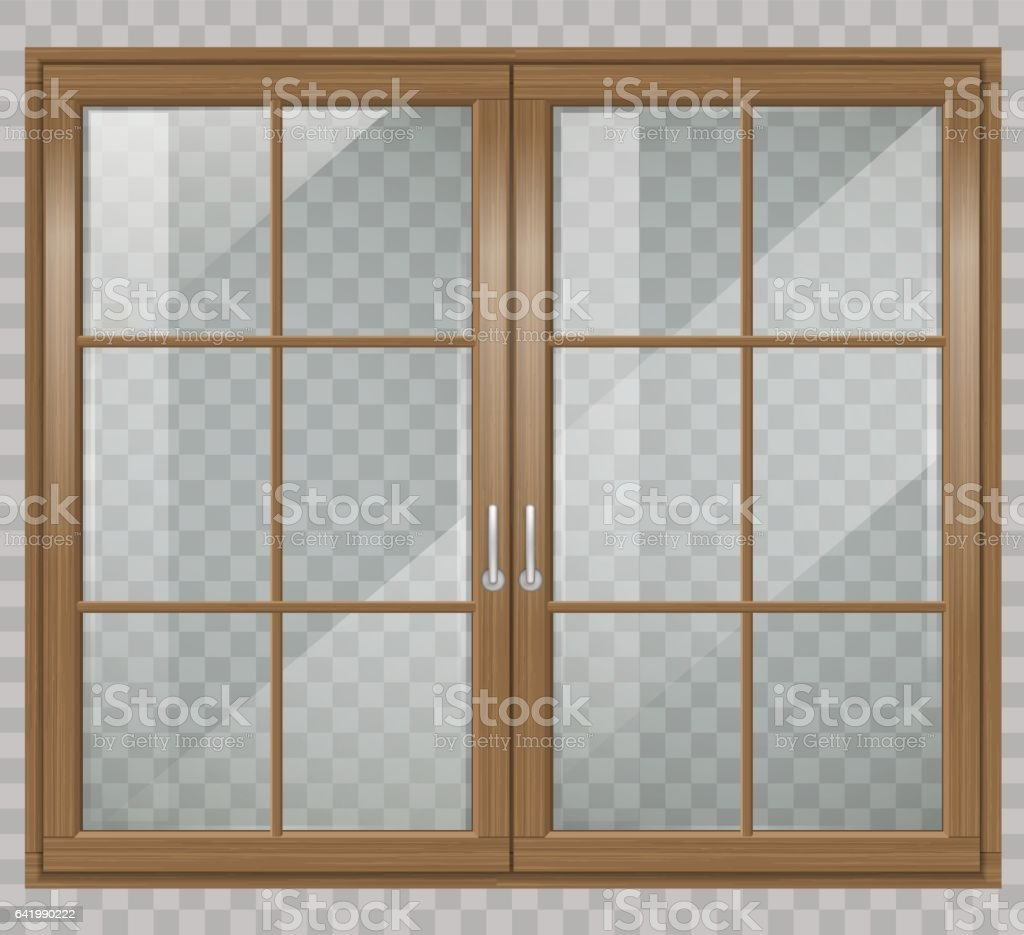 Classic wooden window vector art illustration