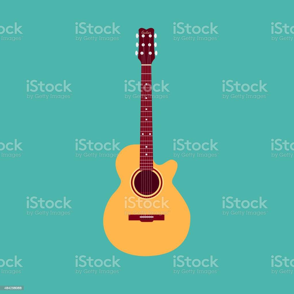 Classical acoustic guitar vector art illustration