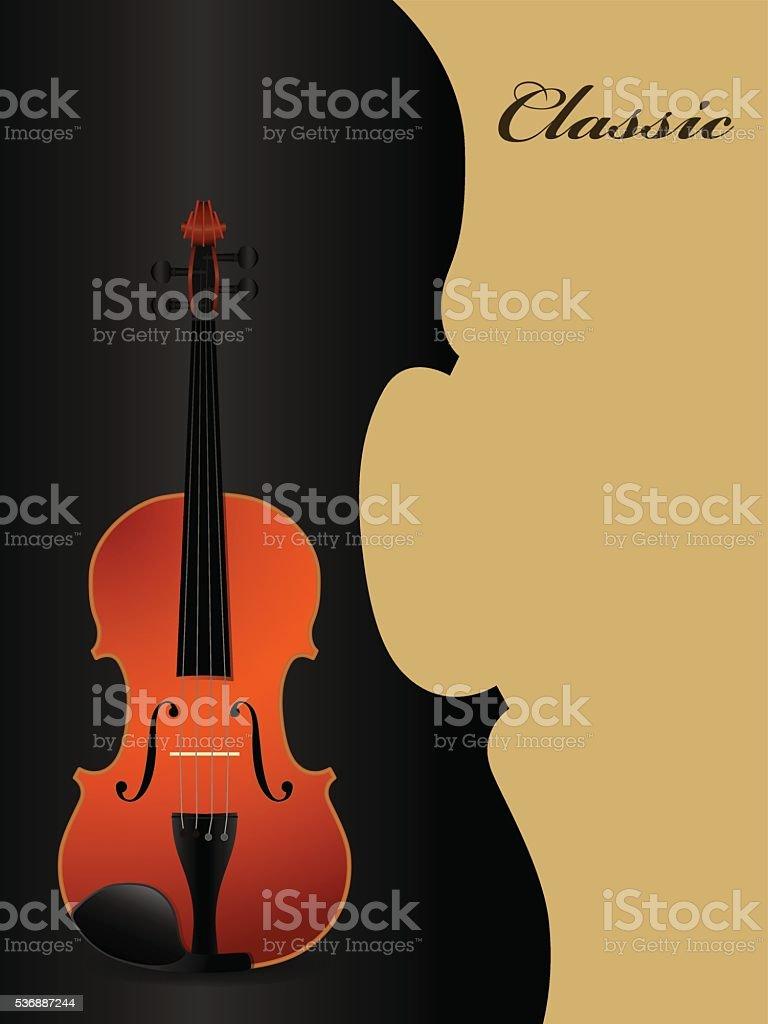 Classical acoustic violin on black background. Music instrument. vector art illustration