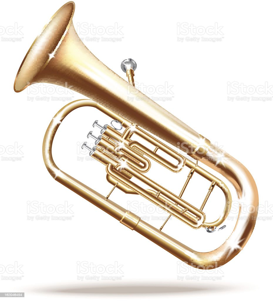 Classical Baritone horn / Euphonium tuba. Isolated on white background vector art illustration