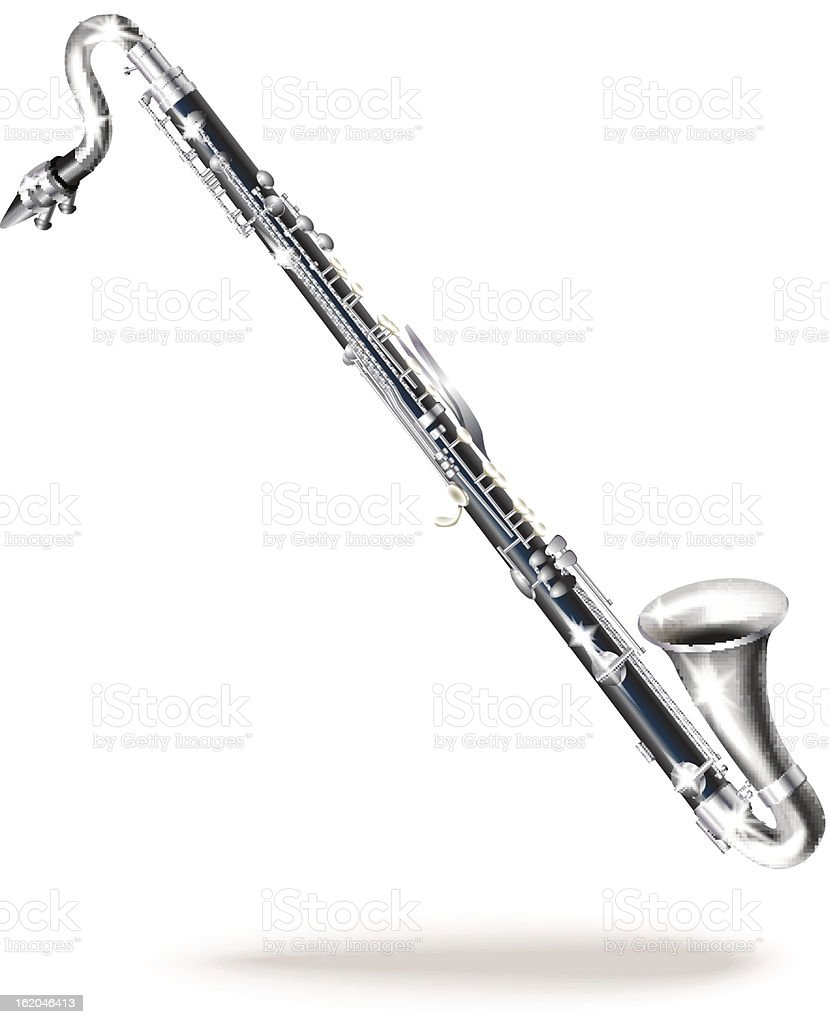 Classical bass clarinet. Isolated on white background royalty-free stock vector art