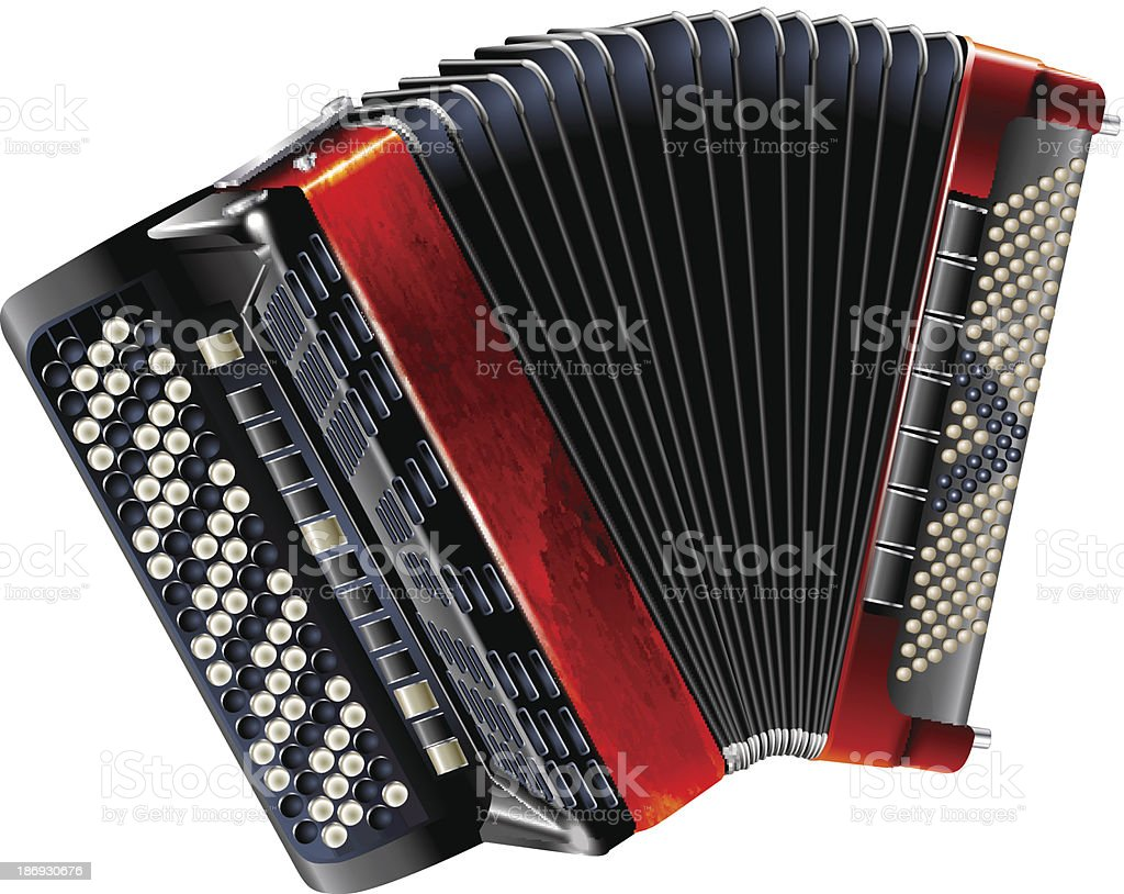 Classical bayan (accordion), isolated on white background royalty-free stock vector art