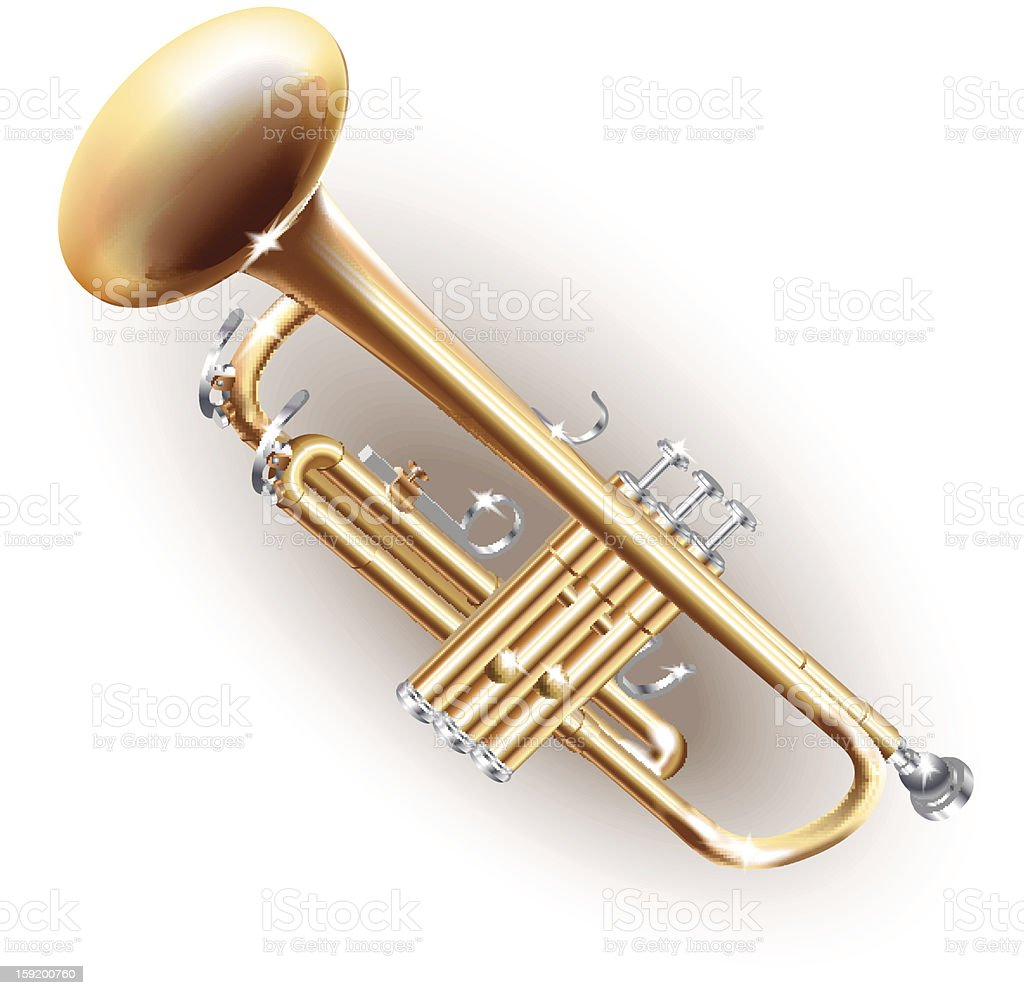 Classical brass trumpet royalty-free stock vector art