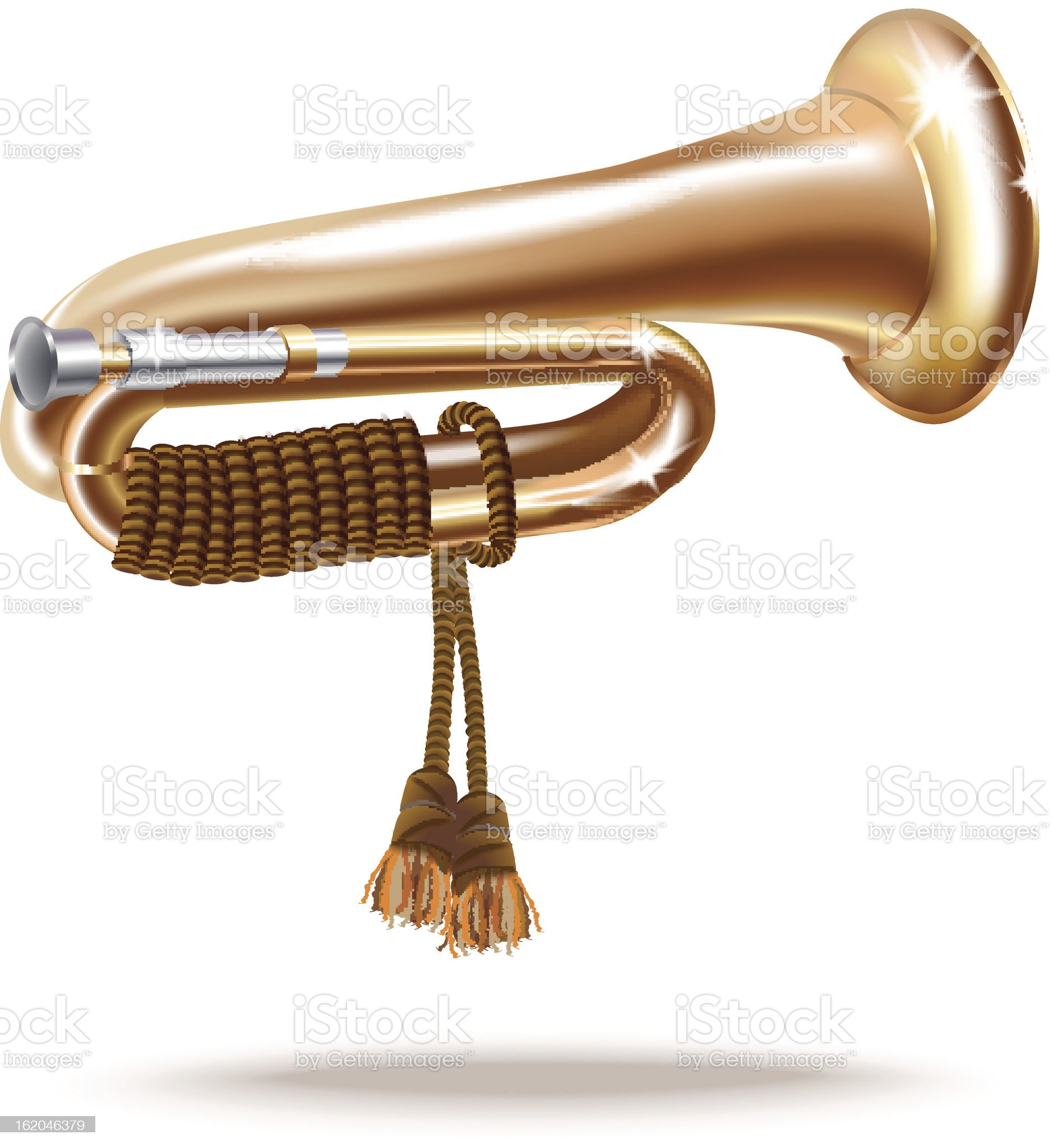 Classical bugle, isolated on white background royalty-free stock vector art