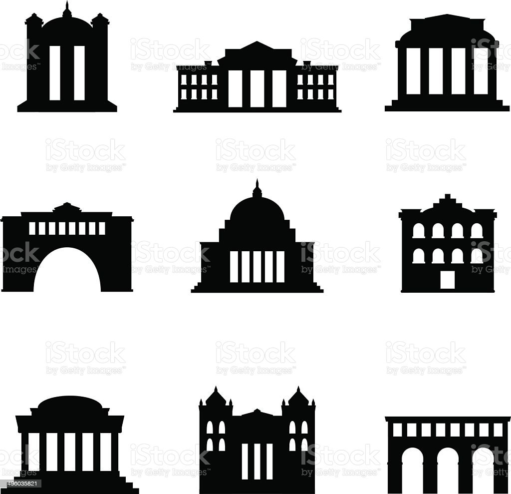 Classical Buildings vector art illustration