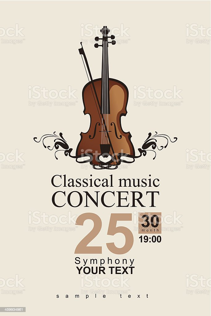 A classical concert invite template vector art illustration
