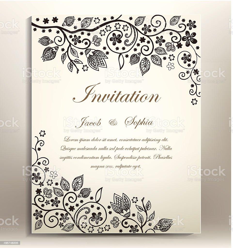 classical floral hand draw wedding invitation vector art illustration