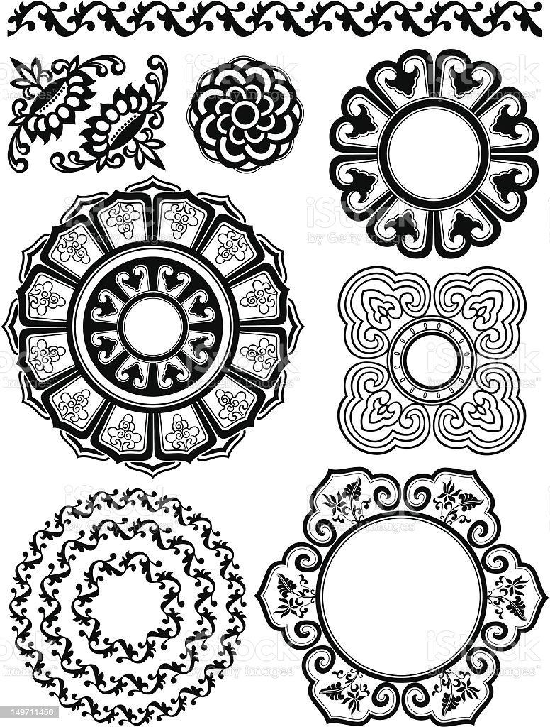 Motivo floreale classico design illustrazione royalty-free