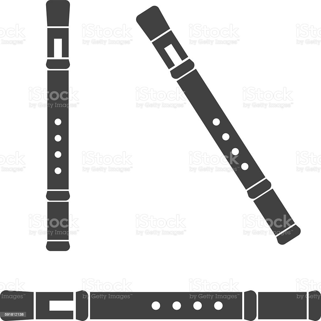 Classical flute, isolated on white background vector art illustration