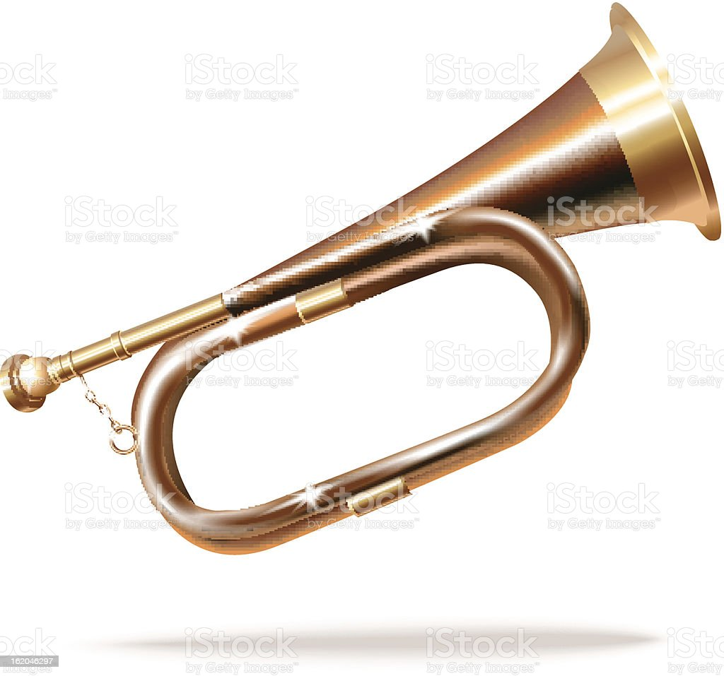 Classical hunting horn. Isolated on white background royalty-free stock vector art