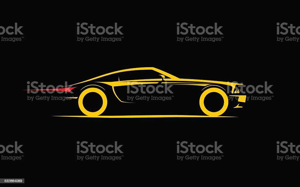 classical stylized car coupe vector art illustration