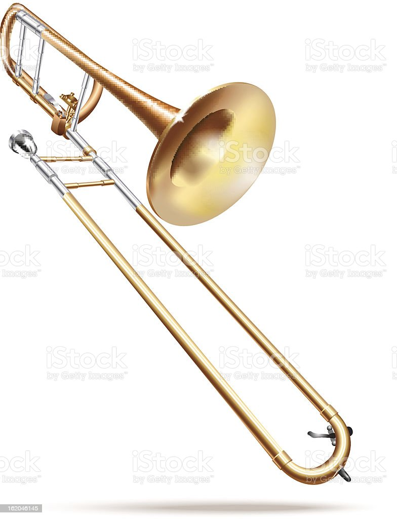 Classical trombone. Isolated on white background vector art illustration
