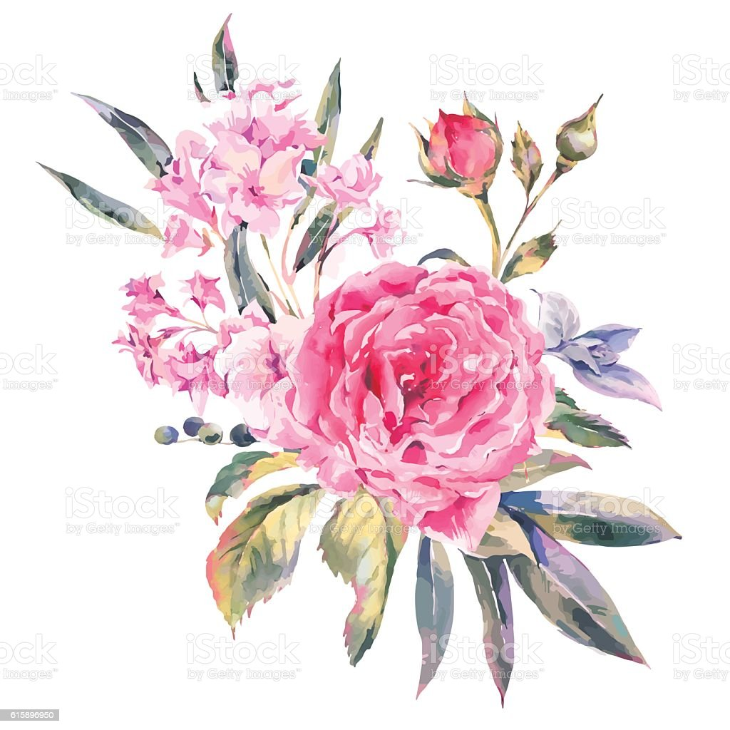 Classical vintage floral greeting card, natural bouquet of roses vector art illustration