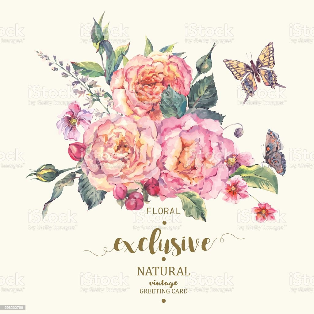 Classical vintage roses greeting card vector art illustration