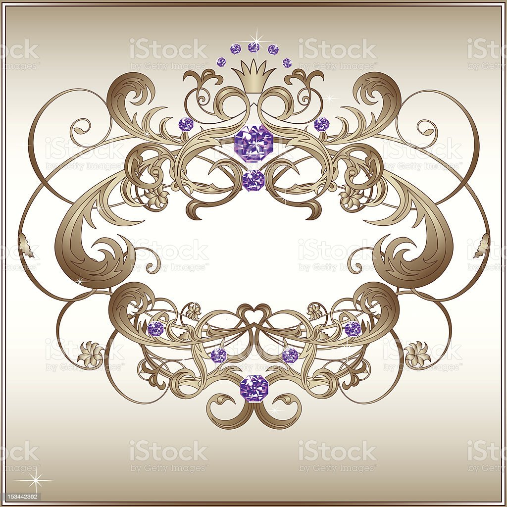 Classical white floral frame, with purple jewels royalty-free stock vector art