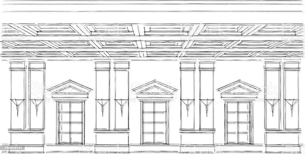Fenster bleistiftzeichnung  Klassische Fenster Skizze Vektor Illustration 165959191 | iStock
