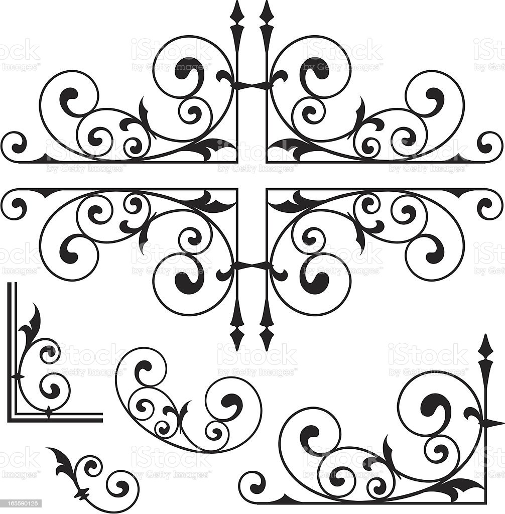 Classical Wrought Iron Ornaments royalty-free stock vector art