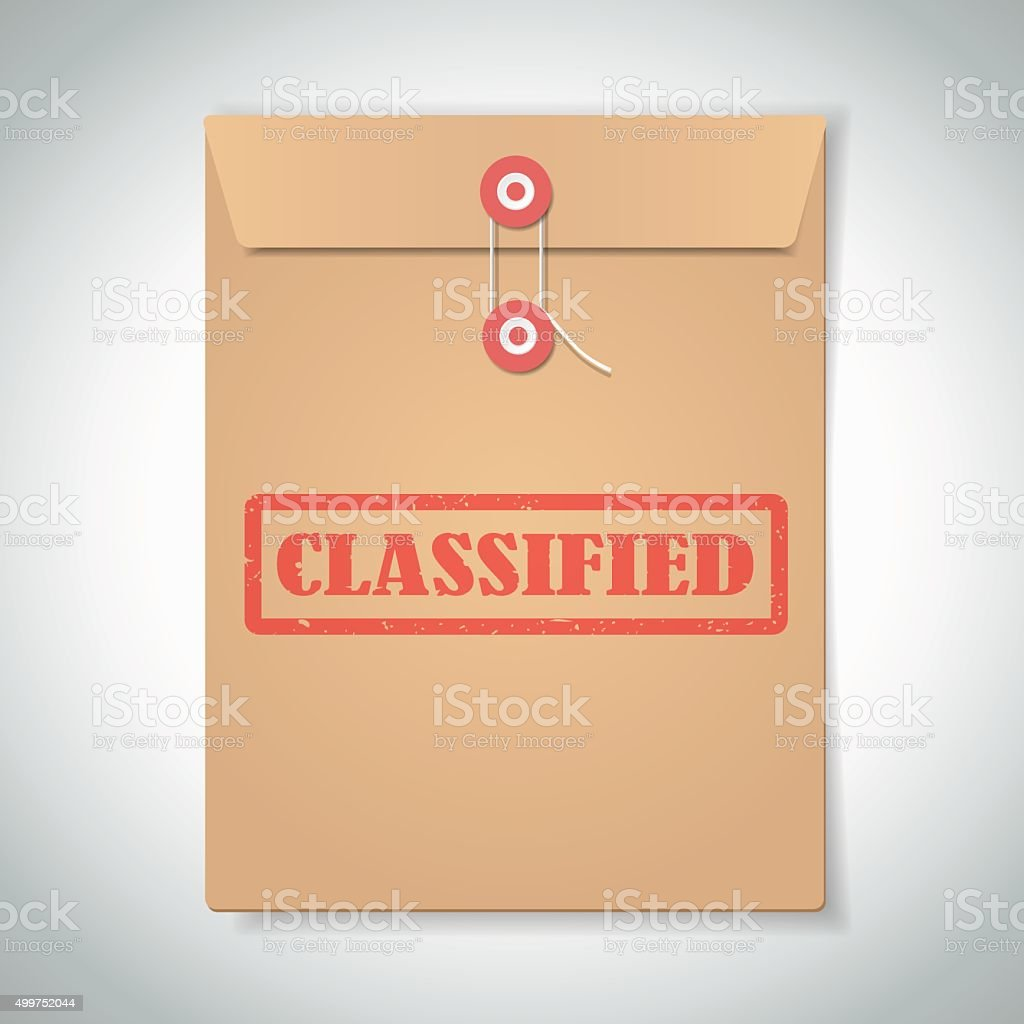 Classified red stamp text on brown folder vector art illustration