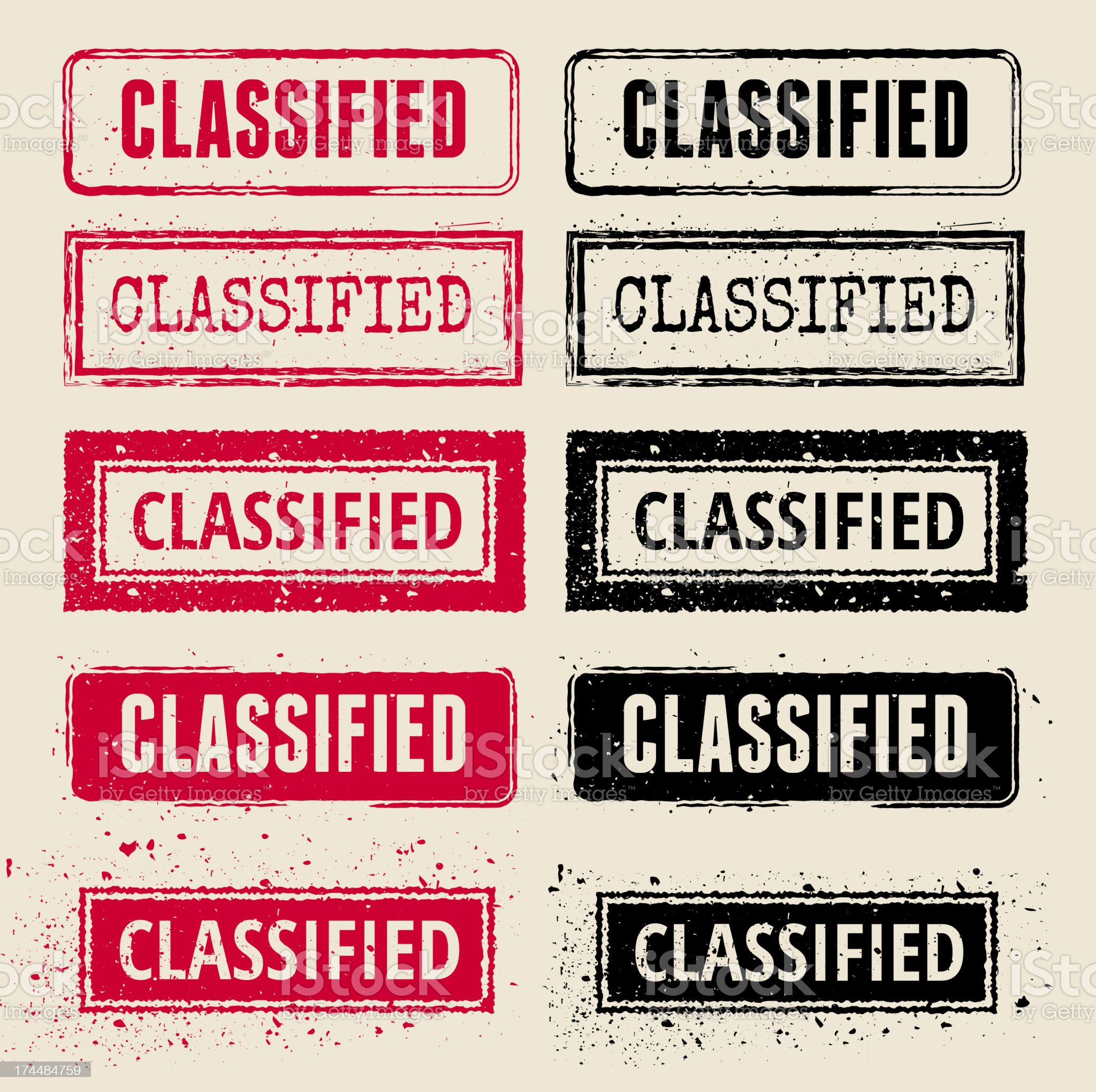 Classified Vector Rubber Stamp Collections royalty-free stock vector art