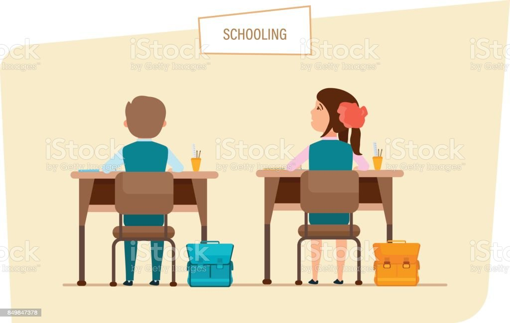 Classmates sit next to each other, behind desks, with accessories vector art illustration