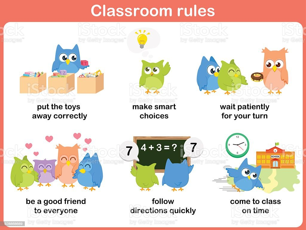 Classroom rules for kids vector art illustration