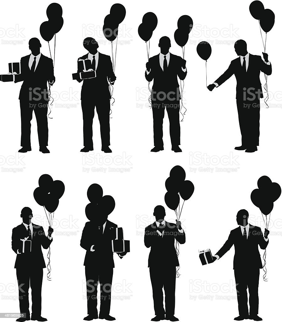 Classy birthday celebration man with balloons and presents royalty-free stock vector art