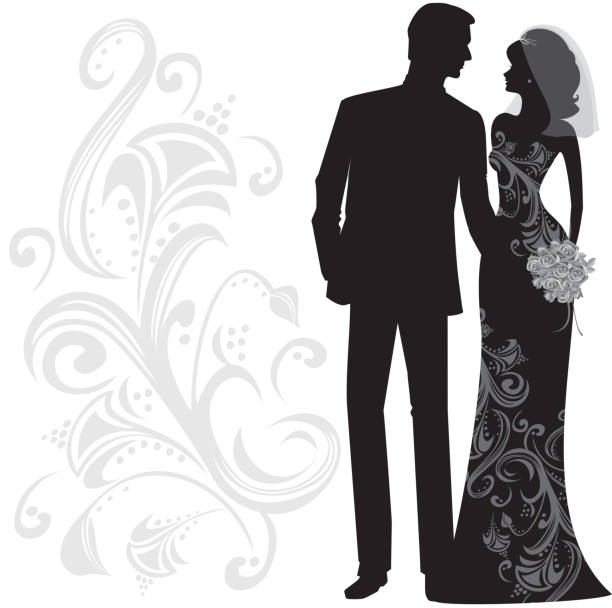 Classy Bride And Groom Silhouette Just Married Vector Art Illustration