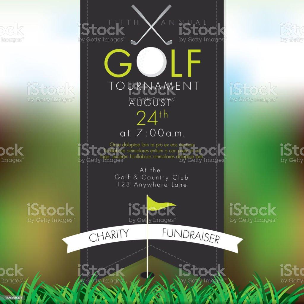Classy Golf tournament invitation design template on bokeh vector art illustration