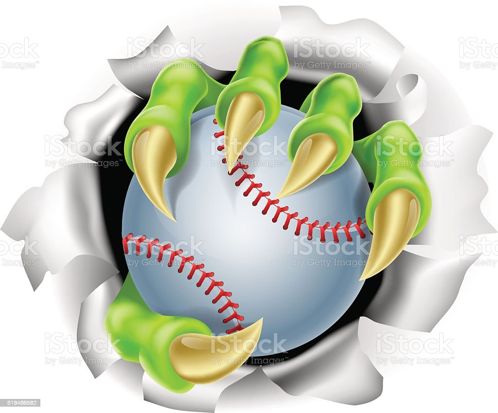 Claw with Baseball Ball Breaking out Of Background vector art illustration
