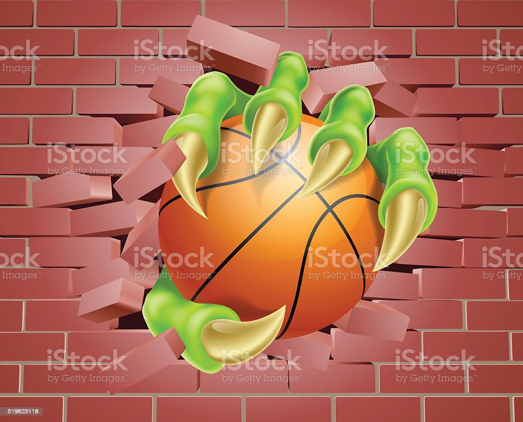 Claw with Basket Ball Breaking Through Brick Wall vector art illustration