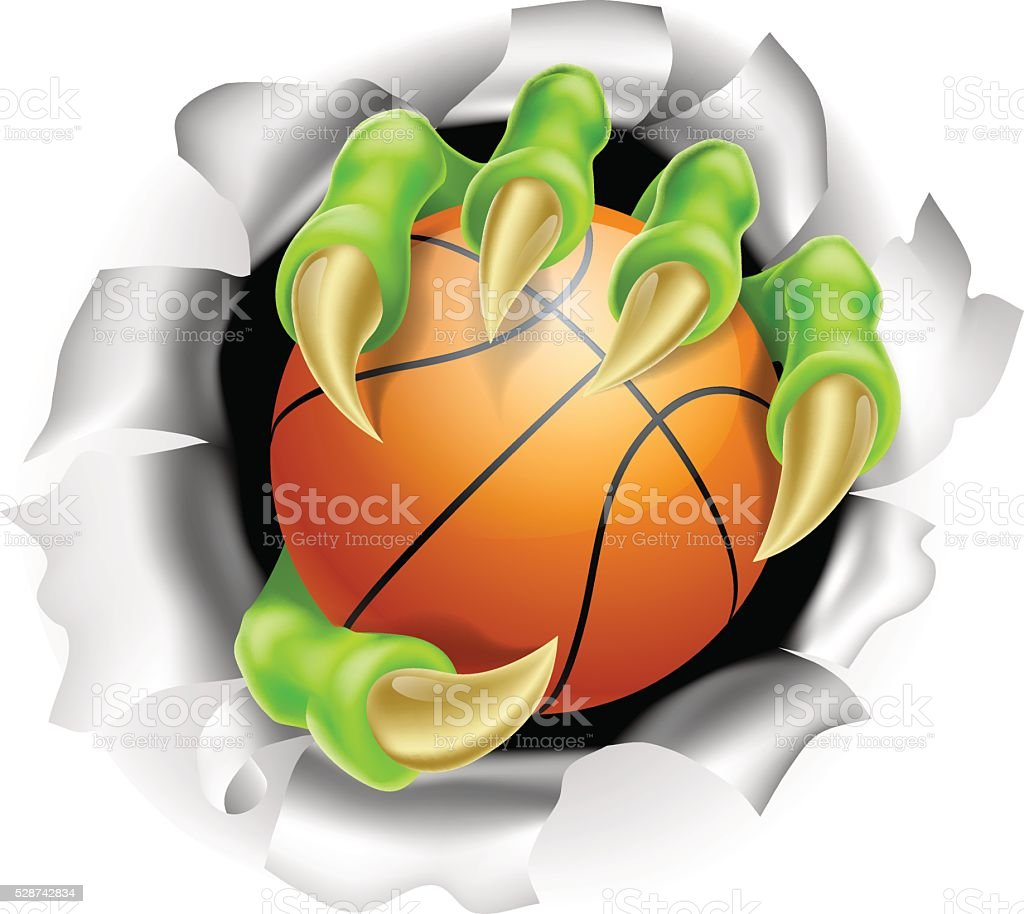 Claw with Basketball Ball Breaking out Of Background vector art illustration