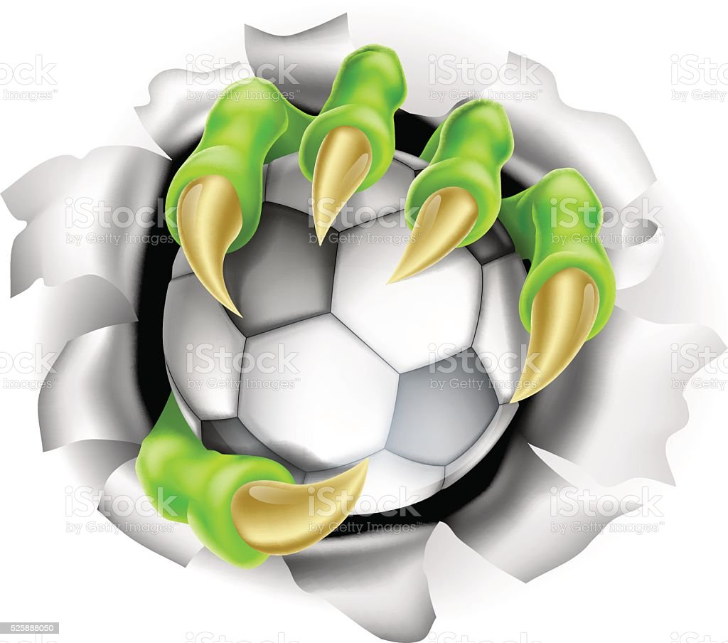 Claw with Soccer Ball Breaking out Of Background vector art illustration