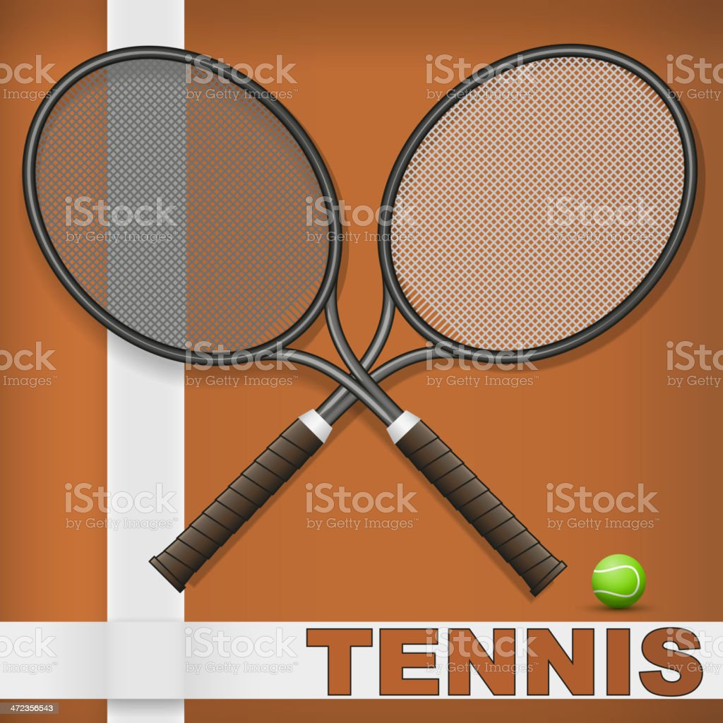 Clay court and rackets royalty-free stock vector art