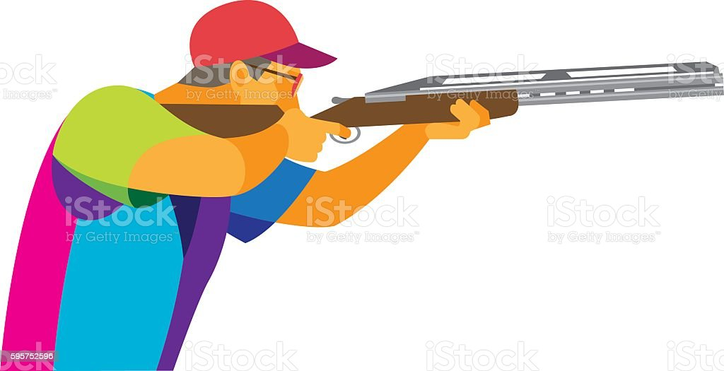 Clay Pigeon Shooting. Young athlete vector art illustration