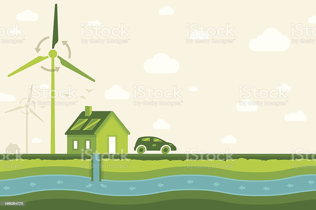 Clean Air and Clean Water Background vector art illustration