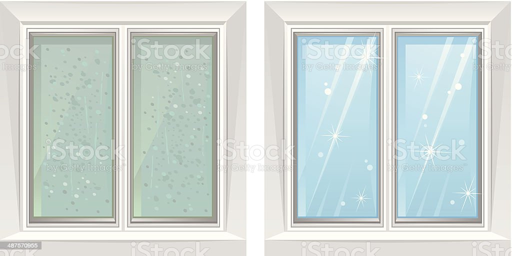 Clean and dirty window vector art illustration
