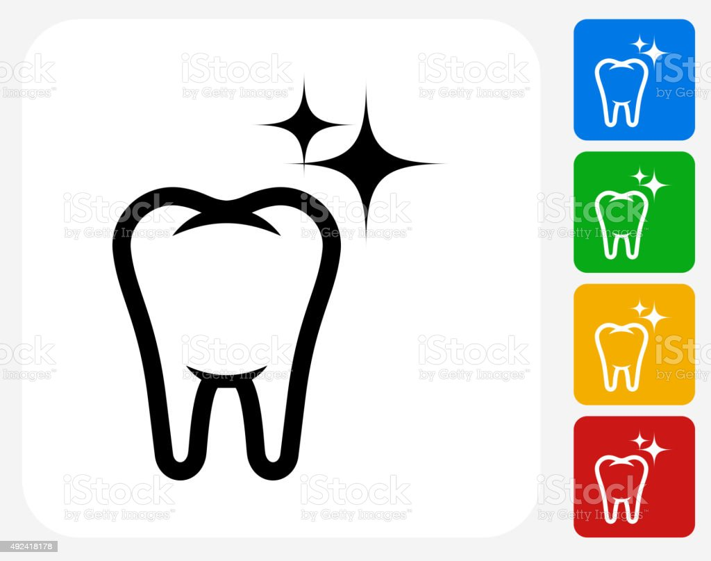 Clean and Strong Teeth Icon Flat Graphic Design vector art illustration
