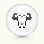 Clean and Strong Teeth icon on white round vector button