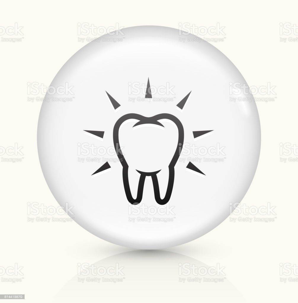 Clean and Strong Teeth icon on white round vector button vector art illustration