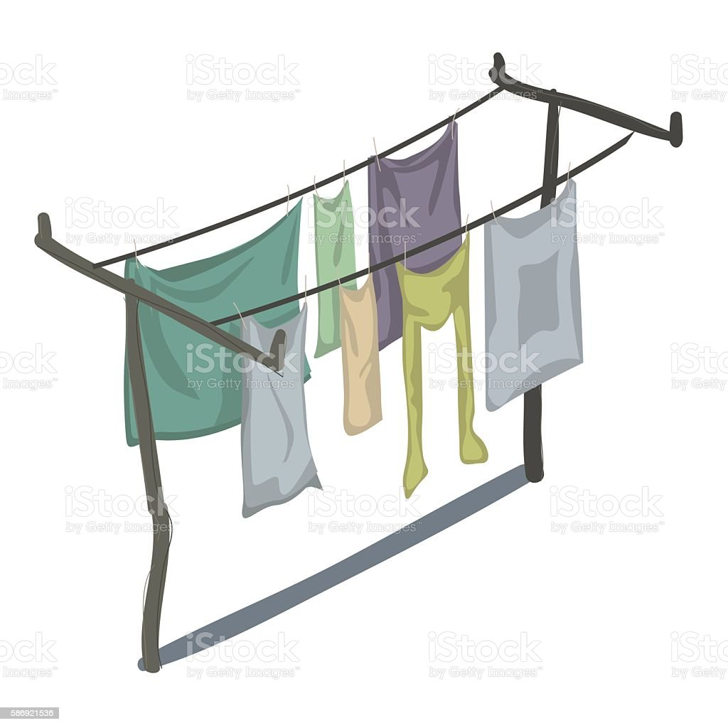 Clean clothes that are drying on line in rows vector art illustration