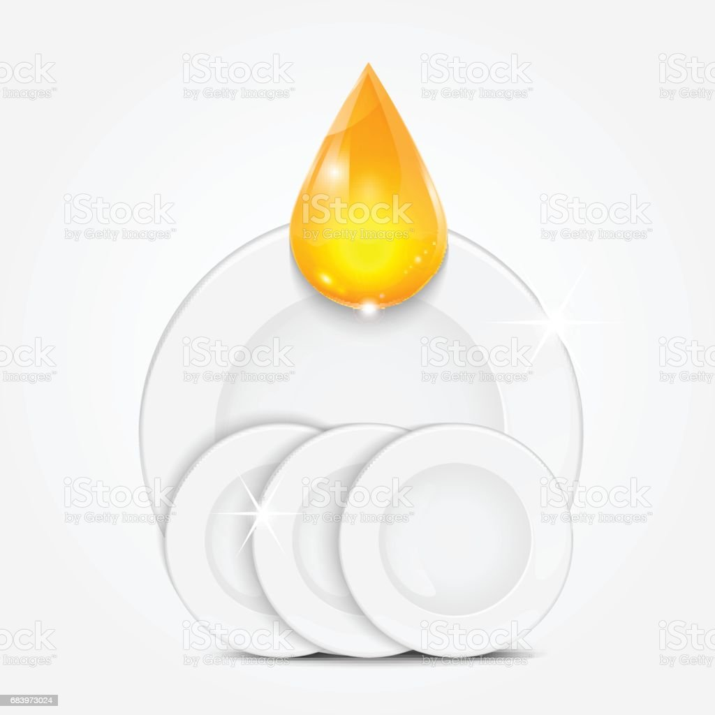 Clean dishes vector art illustration