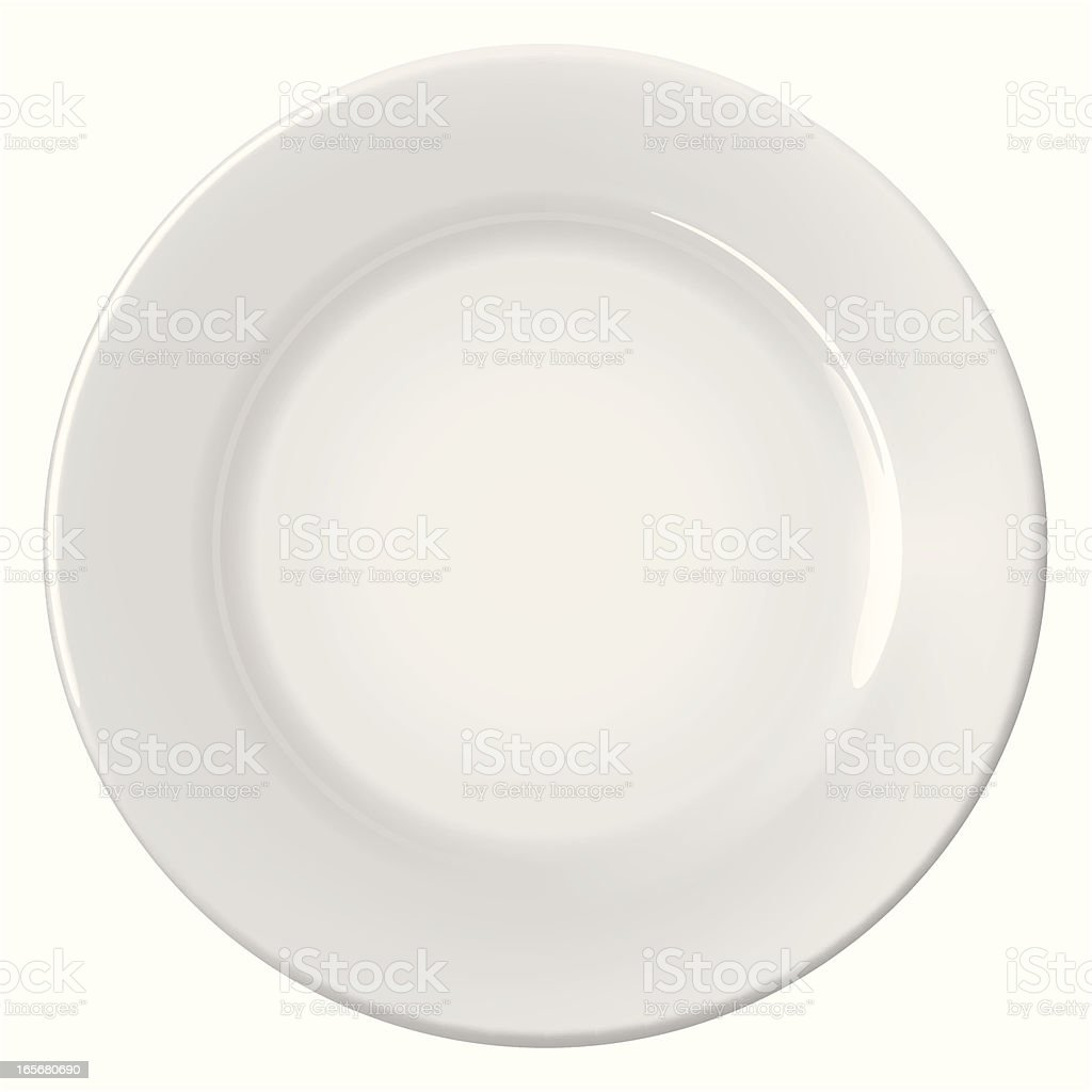 A clean empty white plate on a white background vector art illustration