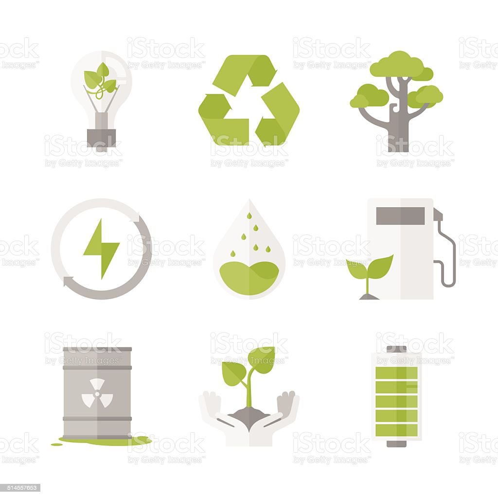 Clean energy and ecology protection flat icons set vector art illustration