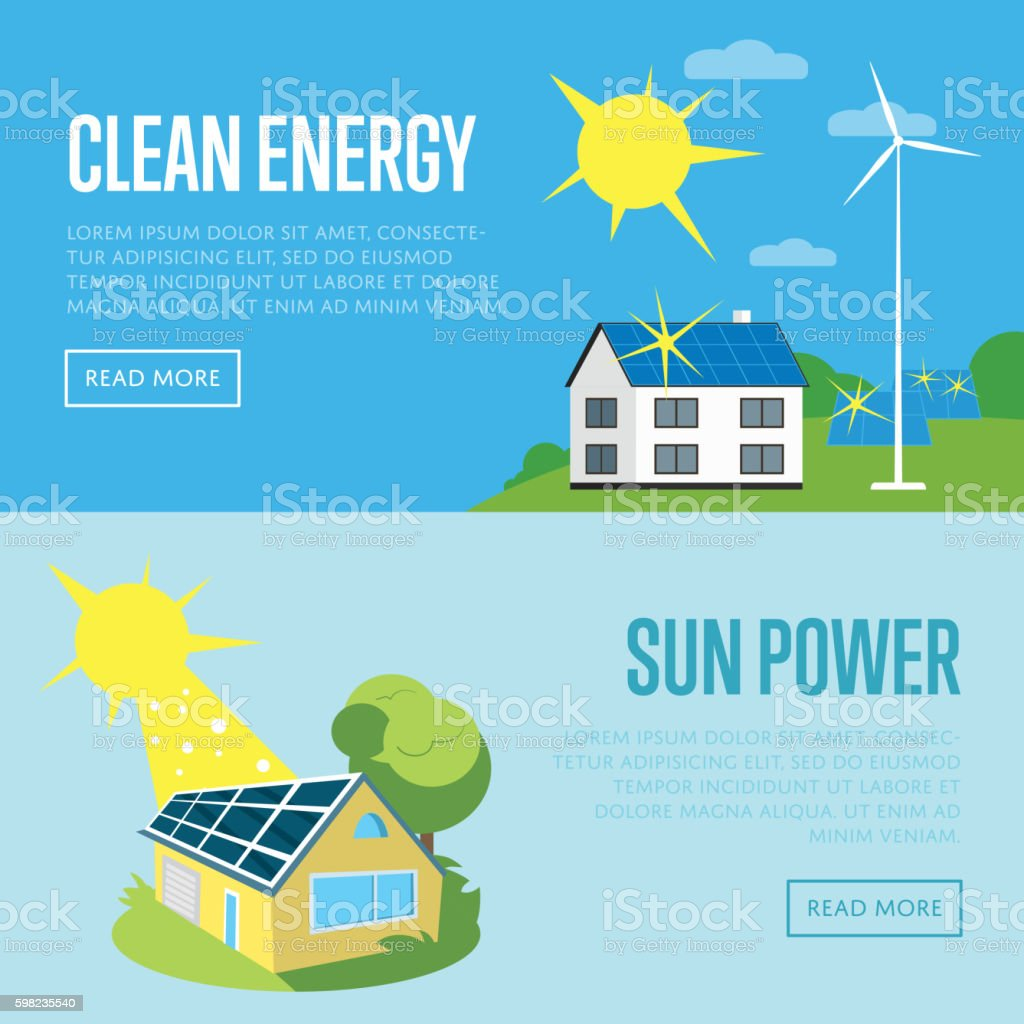 Clean energy and sun power vertical banners. vector art illustration
