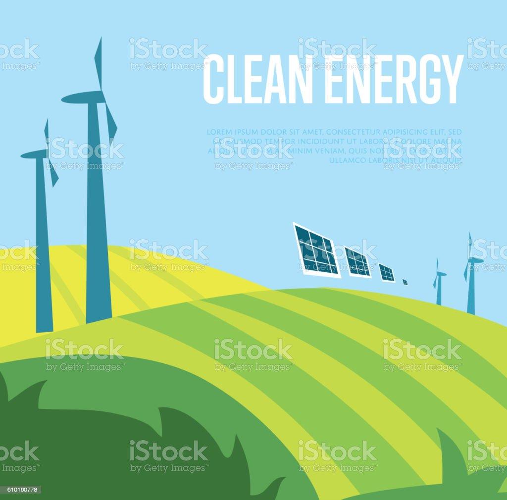 Clean energy banner. Wind power generation vector art illustration