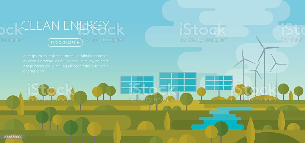 Clean Energy Landscape Banner vector art illustration