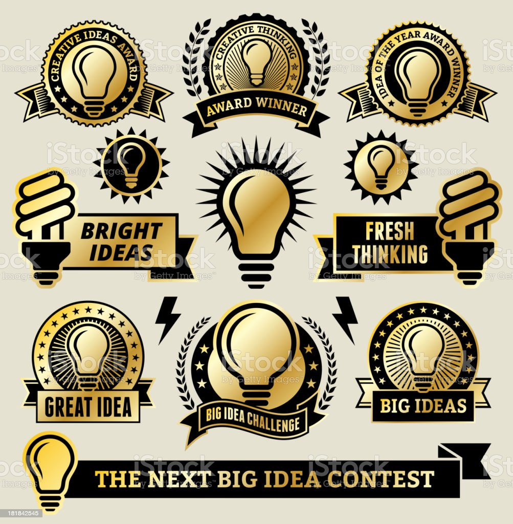 Clean Energy Light Bulb Banners, Badges, and Symbols vector art illustration