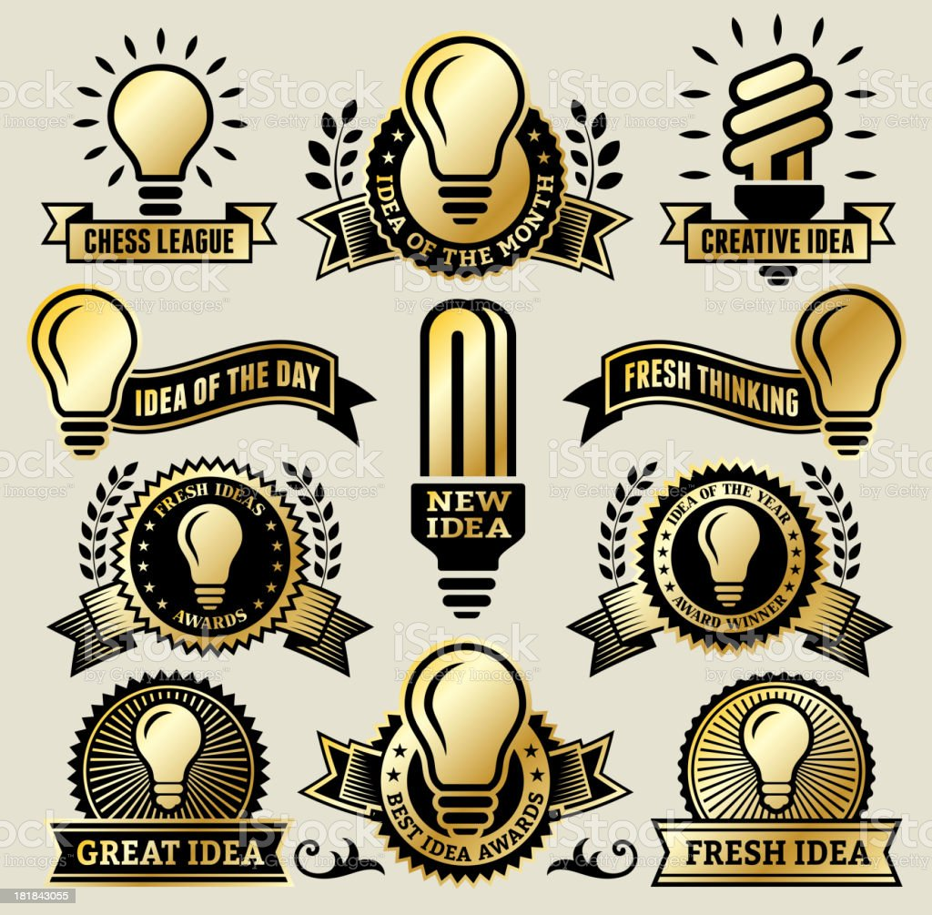 Clean Energy Light Bulb Banners, Badges, and Symbols royalty-free stock vector art