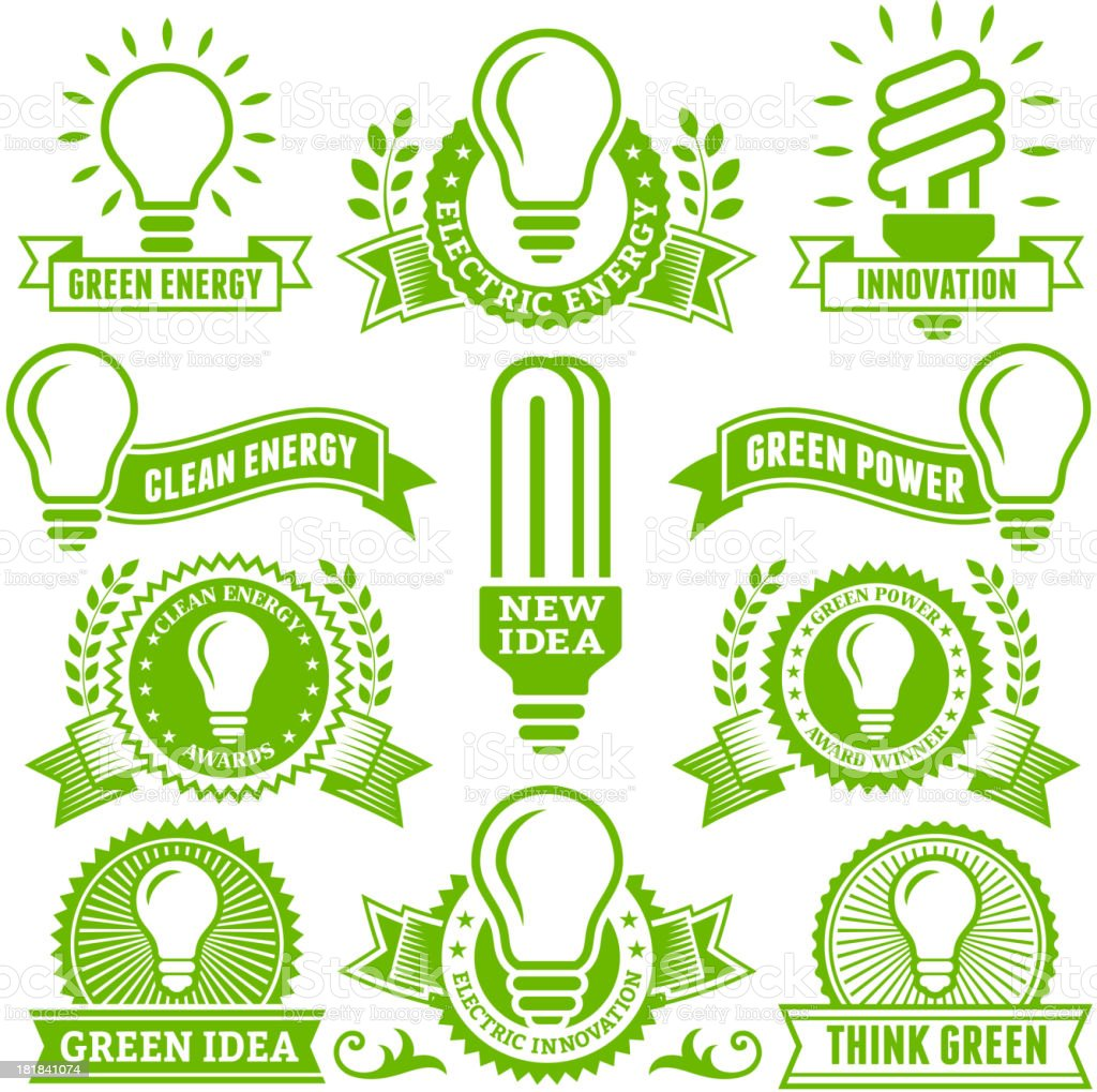 Clean Energy Light Bulb Banners, Buttons, and Symbols royalty-free stock vector art